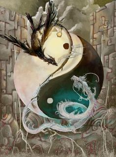 ; yin and yang, black and white, dragons