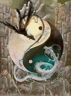 ; yin and yang, black and white, dragons