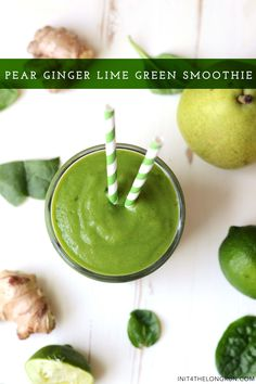 There are so many variations to prepare smoothies. You can use almost all fruits or vegetables.In this green smoothie recipes article we are giving you the ingredients of smoothies. They are for weight loss and detox, full organic and easy. Green Detox Smoothie, Ginger Smoothie, Pear Smoothie, Green Smoothie Recipes, Juice Smoothie, Smoothie Drinks, Green Smoothies, Smoothie Mix, Smoothie Cleanse