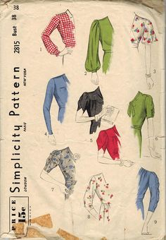 Simplicity 2815 - late 1930s sleeve pattern. #vintage #1930s #sewing_patterns