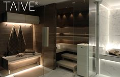 TAIVE sauna product line provides complete solutions for sauna interiors. It´s smooth, elegant design creates a harmonious atmosphere in your sauna as well as other interiors in your spa. In addition, thoughtfully designed Cariitti lighting solutions emphasize the surfaces and shapes of the materials. TAIVE interior is a timeless, long-lasting design solution that will create unforgettable sauna experiences for you and your guests. Bathroom Spa, Small Bathroom, Saunas, Dream Bathrooms, Lighting Solutions, Bathtub, Rustic, Design, Organizing
