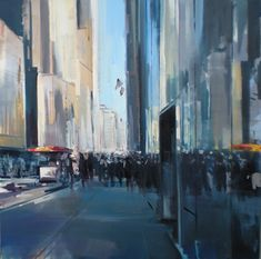 """Noontime Bustle by craig mooney Oil ~ 40"""" x 40"""""""