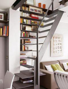 Stair design for a small space / Tiny House: Small apartment interior design 6 - Decoist Interior Stairs, Interior Architecture, Small Apartments, Small Spaces, Stair Shelves, Staircase Bookshelf, Staircase Storage, Bookshelves, Shelving
