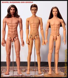 Collecting Fashion Dolls by Terri Gold: Comparison Photo of Three Male BJDs