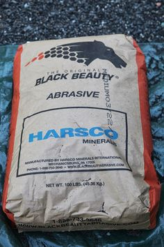 JUNE 27, 2013 Repainting My Outdoor Metal Furniture | For this type of blasting, Black Beauty Abrasive is used.