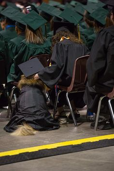 Service dog graduates with owner!