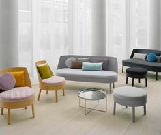 Office, Office Guest Room Ideas Beige Plywood Back Chairs With Color Stripped Cushions Chrome Polished Table Gray Black Fabric Foot Stools Gray Fabric Sofa With Wooden Frame Large Fiberglass Windows Pillows: Modern Office Waiting Room Furniture Design Ideas