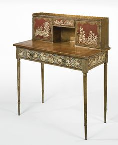 Max Kuehne DESK painted and gilt and silvered wood with patinated metal