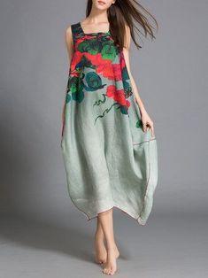 Multicolor Asymmetrical Printed Sleeveless Linen Midi Dress
