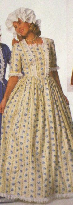 1776-colonial women dress cotume  with mob cap made to measurement choice of color