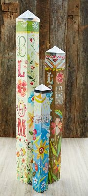 Artist Katie Daisy was given three blank poles to tell a story. This Art Pole Garden was the result. Art Poles feature artwork laminated onto a lightweight PVC pole for fade-resistance, durability, & reduced shipping cost. Easy to install. Hardware included. Get this set of three for $399.95 at Quirks of Art. Beautiful Mother's Day gift.