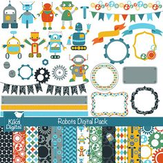 INSTANT DOWNLOAD Robots Digital Clipart and Paper Pack - Scrapbooking , card design, invitations, stickers, paper crafts, web design