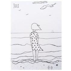Juli ved havet. Illustration af Aastrøm. Aastrom.dk