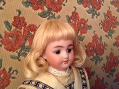 Blond mohair Rembrandt hand-wefted doll wig made by Diana Boettger