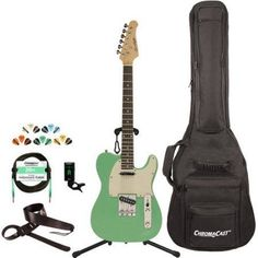 Sawtooth Classic ET 50 Ash Body Electric Guitar Kit with ChromaCast Gig Bag and Accessories, Green
