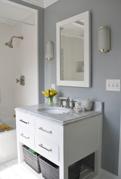 kind of in love with this paint color for a living room. Marina Gray by Benjamin Moore