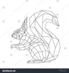 Geometric Origami, Geometric Quilt, Geometric Drawing, 3d Origami, Geometric Art, Embroidery Art, Embroidery Patterns, Squirrel Tattoo, Star Wars Origami