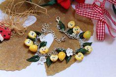 Jewelry bracelet / Yellow apples / Handmade / Polymer clay #Handmade #Chain