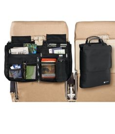 "This seat organizer hooks on to your tray table and includes pockets for everything from books to a water bottle. Once zipped, it converts to an easy-to-carry case that keeps everything in place. Perfect for traveling with kids and ideal for keeping toiletries close at hand en route. Padded handle and removable strap with 25"" drop. Imported."