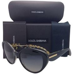 Pre-owned Polarized Dolce&gabbana Sunglasses Dg 4198 2744/t3... ($250) ❤ liked on Polyvore featuring accessories, eyewear, sunglasses, uv protection glasses, black sunglasses, gold glasses, black cat eye glasses and gold sunglasses