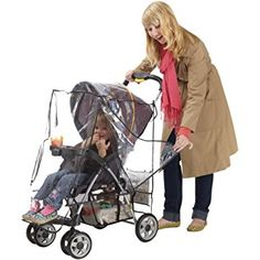J is for Jeep Deluxe Stroller Weather Shield, Baby Rain Cover, Universal Size, Waterproof, Water Resistant, Windproof, See Thru, Ventilation, Protection, Shade, Umbrella, Pram, Vinyl, Clear, Plastic