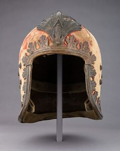 """Sallet """"in the Venetian Style"""" Date: ca. 1460; decoration, probably 17th century and later Culture: Italian Medium: Steel, gold, copper, textile, leather Dimensions: H. 10 in. (25.4 cm); W. 7 3/4 in. (19.7 cm); D. 10 in. (25.4 cm); Wt. 4 lb. 12 oz. (2144 g)"""