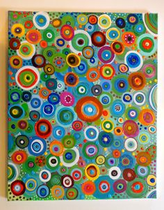 Colorful Circles Original Abstract Acrylic by Heather Montgomery. Wine And Canvas, Circle Art, Aboriginal Art, Acrylic Art, Art Auction, Art Techniques, Kandinsky, Art Lessons, Painting & Drawing