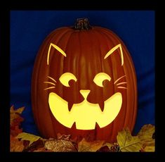 The Cats Meow - Hand Carved on a Foam Pumpkin - Plug in light with Switch included.