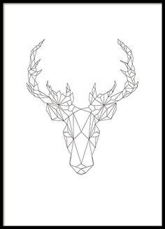 Poster mit geometrischen Formen eines Rentieres. Minimalistisches Poster, das perfekt in alle Räume passt, dank des schwarz-weißen Designs. www.desenio.de