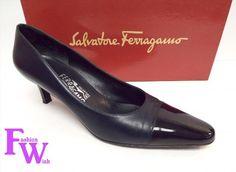 99.00$  Watch now - http://vizgj.justgood.pw/vig/item.php?t=7m5k29c20672 - FERRAGAMO Size 7.5 Navy Blue Leather Mid Heel Pumps Cap Toe Shoes 7 1/2 99.00$