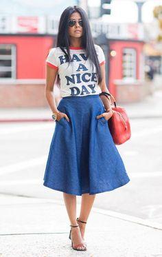 Спорная вещь: юбка из денима. Носить или не носить? | Журнал Cosmopolitan