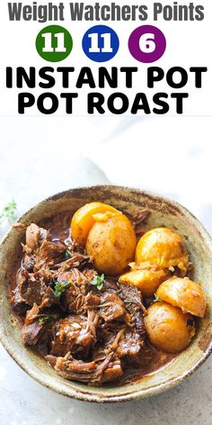 Quick, easy dump and start instant pot beef pot roast with potatoes recipe is our new weeknight favorite meal. For weight watchers points: myWW green plan 11 points, blue plan 11 points, purple 6 points Weight Watcher Dinners, Plan Weight Watchers, Poulet Weight Watchers, Weight Watchers Chicken, Healthy Pot Roast, Beef Pot Roast, Pot Roast Recipes, Ww Recipes, Low Calorie Recipes
