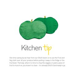 ENJO Fruit & Veg Cloth - Kitchen Tip - Find it at www.enjo.com.au Chemical Free Cleaning, Fibres, Fruit And Veg, Natural Cleaning Products, Kitchen Hacks, Saving Tips, Cleaning Hacks, House, Life