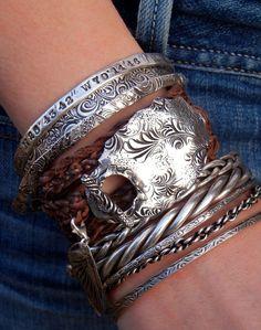 Handmade Silver Jewelry, Boho Stacked Bangles & Leather Wrap Bracelet by HappyGoLickyJewelry.com