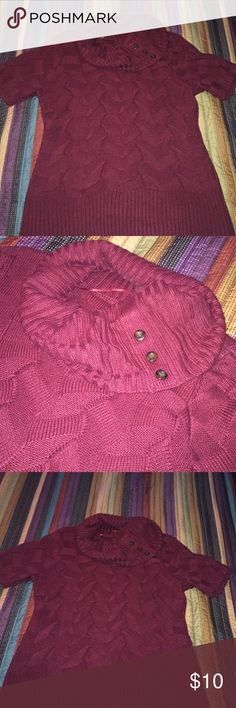Gorgeous burgundy color with button accent. Hello comfort and cuteness.  Button accent on oversized collar.  Short sleeves offer opportunity to add layer underneath. Fits very nicely.  It no longer fits me 😢.  Smoke free home and I'm happy to ship ASAP! Worthington Sweaters
