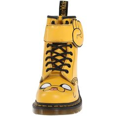 Dr. Martens Jake Boot (Yellow) Lace-up Boots ($70) ❤ liked on Polyvore featuring shoes, boots, dog boots, lace up platform boots, platform boots, strappy boots and dr martens shoes