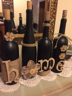Ta-da Wine bottle craft with jute and burlap
