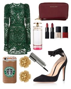 """""""Untitled #9610"""" by ohnadine on Polyvore featuring Elie Saab, Gianvito Rossi, MICHAEL Michael Kors, NARS Cosmetics, Prada, Miriam Haskell and MAC Cosmetics"""
