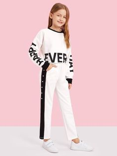 Shop Girls Letter Pullover and Snap Button Side Pants Set online. SHEIN offers Girls Letter Pullover and Snap Button Side Pants Set & more to fit your fashionable needs. Girls Fashion Clothes, Tween Fashion, Fashion News, Fashion Outfits, Fashion Trends, Fashion Design, Cute Girl Outfits, Kids Outfits Girls, Casual Outfits