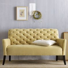 The Elton Settee Tufted Yellow Sofa for dining room