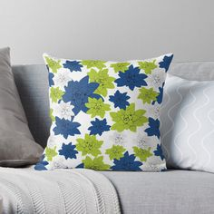 'Echeveria flower in classic blue and lime green ' Throw Pillow by Amanda D-Hay Throw Blanket, Green, Lime Green Throw Pillows, Pillows, Blue, Throw Pillows, Lime Green, Floor Pillows, Prints