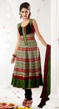 Contemporary Off White, Parrot Green & Red Salwar Kameez