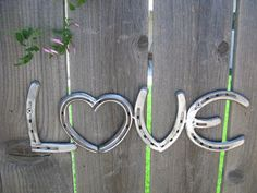 Love Recycled Horseshoe Sign Clear Coat Finish by willcapps, $25.00