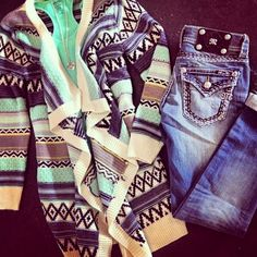 Open tribal cardigan with bright tank and jeans