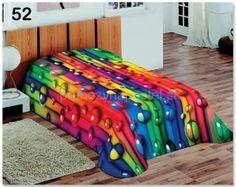 Poťahy na postele farebné s motívom dúhových guličiek