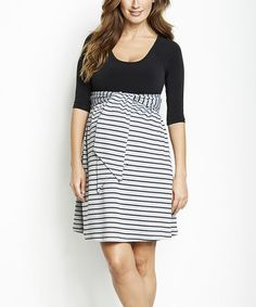 Another great find on #zulily! Black Stripe Maternity Three-Quarter Sleeve Dress by Maternal America #zulilyfinds