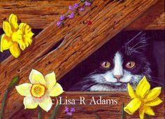 Barn Cat ACEO Giclee print art card Creationarts  http://www.ebay.com/itm/-/222402564124?roken=cUgayN&soutkn=SjazhC #catart #catartprint #catpainting