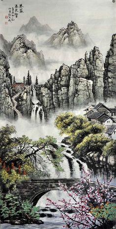 Percussion of Waterfall Asian Landscape, Chinese Landscape Painting, Chinese Painting, Chinese Art, Landscape Paintings, Japanese Artwork, Japanese Painting, Korean Art, Asian Art