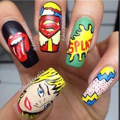 Unha Decorada Crazy Nail Designs, Simple Nail Art Designs, Beautiful Nail Designs, Acrylic Nail Designs, Ongles Pop Art, Pop Art Nails, New Nail Art, Comic Book Nails, Comic Nail Art