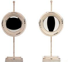 Spiegel aus #Metal auf alt gemacht Rund #Antik-Stil  Rund, #Standspiegel  Material: Metall  #Farbe: #Beige, durchgescheuert  Der Spiegel wurde auf #Alt gemacht  Der Spiegel wertet jedes #Zimmer auf!!  Breite: 21  cm Tiefe: 9 cm Höhe: 50 cm